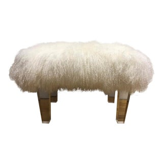White Genuine Sheepskin Lucite Bench
