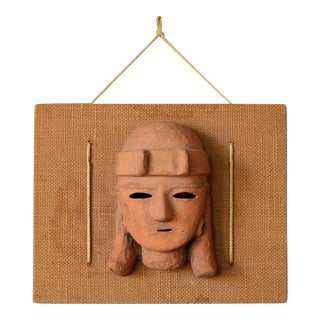 Mid-Century Primitive Aztec Clay Mask Wall Hanging Sculpture