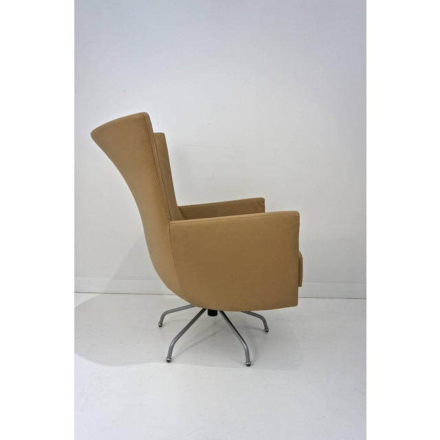 Pair of Modern, Italian, Swivel Lounge Chairs, Upholstered in Tan Color Leather - Image 2 of 9