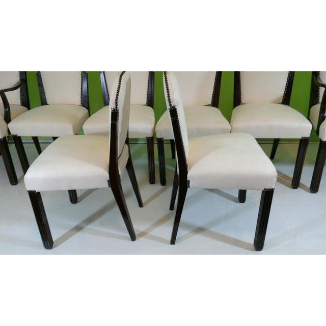 White Suede Deco Dining Chairs - Set of 8 - Image 7 of 11