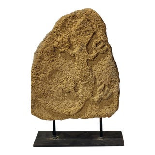 Coral Stone on Stand With Lizzard