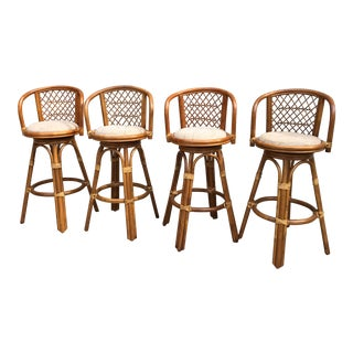 Vintage Rattan Bar Stools - Set of 4