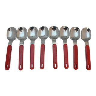 Mid-Century Red Plastic Stainless Tea Spoons - Set of 8
