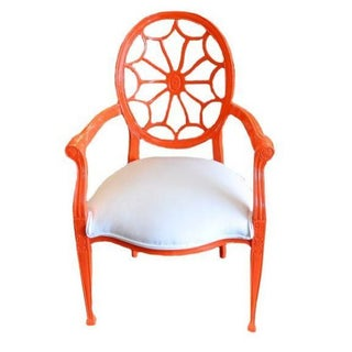 Wheel Back Armchair in High Gloss Orange