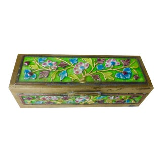 Vintage Chinese Enameled Brass Stamp Box