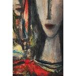 "Image of Boris Deutch "" Female Heads "" Oil Painting, 1955"