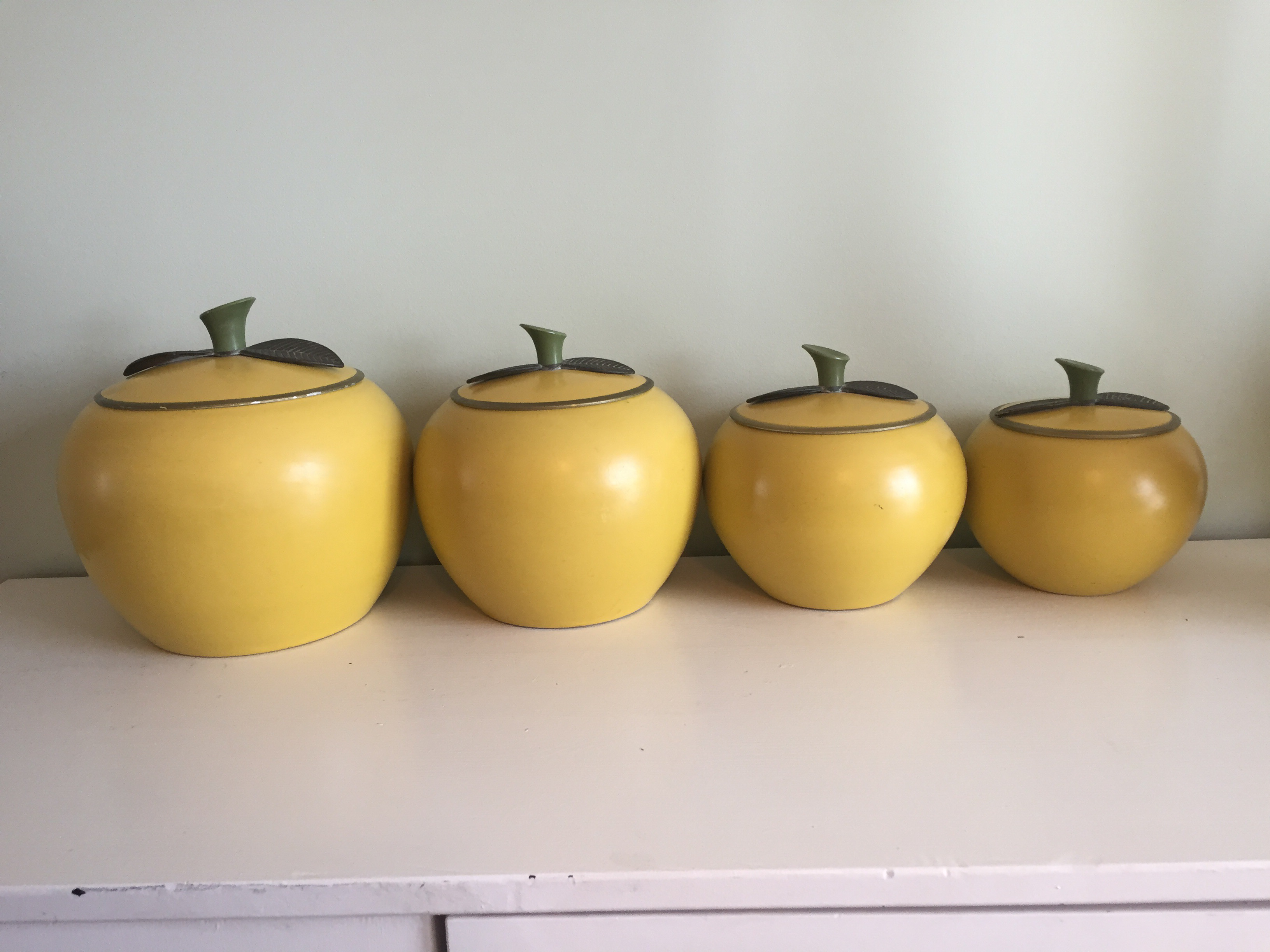 apple canisters for the kitchen mid century yellow apple kitchen canisters set of 4 22909