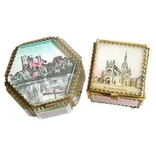Antique French Souvenir Boxes - a Pair