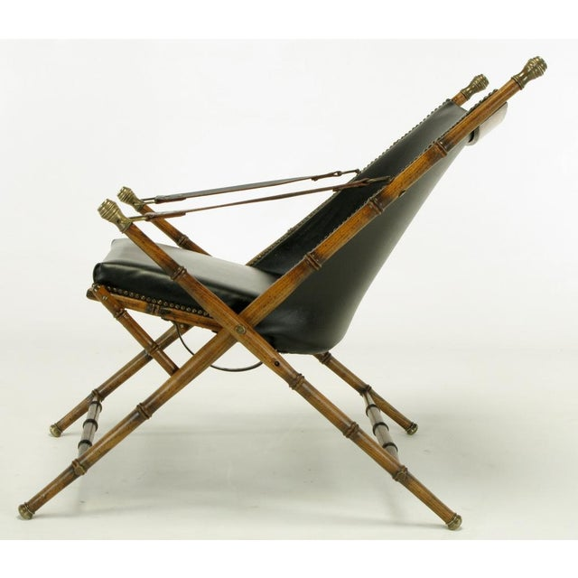 Italian Campaign Chair In Black Leather - Image 8 of 10