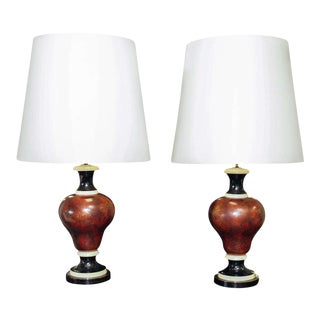Baluster Form Faux Marble Lamps - A Pair