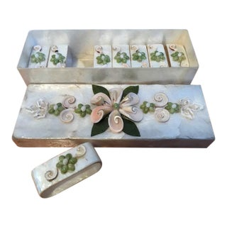 Mother of Pearl Napkin Rings in Box - Set of 8