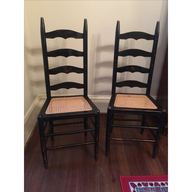 Rustic Ladder Back Cane Chairs - A Pair - Image 3 of 6