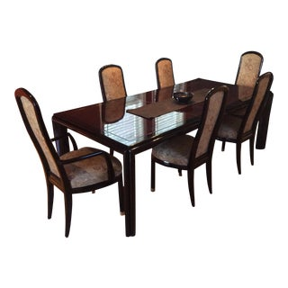 Henredon Art Deco Black Lacquer Dining Set With 6 Chairs