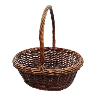 French Hand-Woven Willow Basket