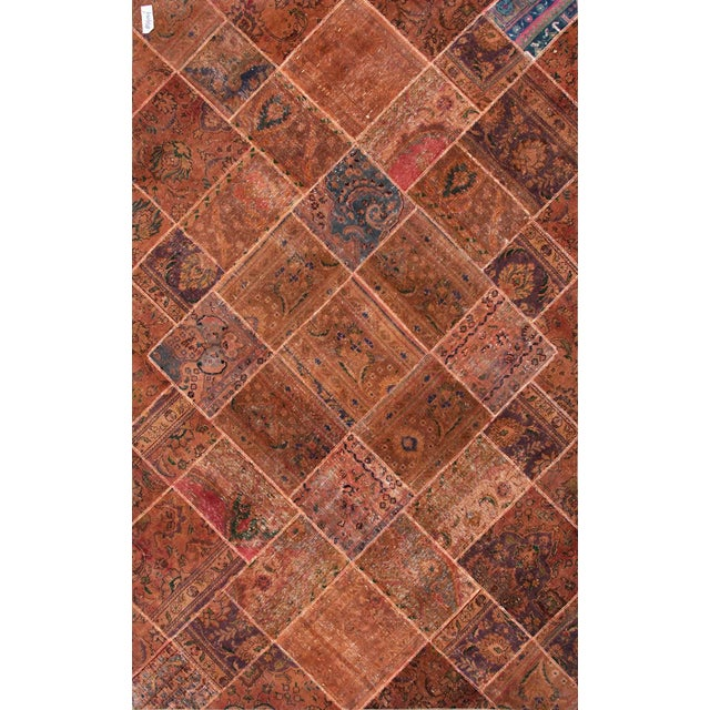 "Patchwork Wool & Cotton Rug - 6'3"" x 9'11"" - Image 1 of 2"