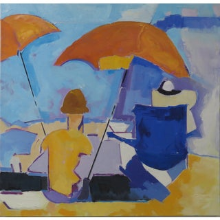 Modern Abstract Beach Day for Two Oil Painting