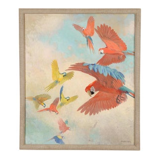 Vintage Flock of Parrots Original Oil Painting by Julius Moessel