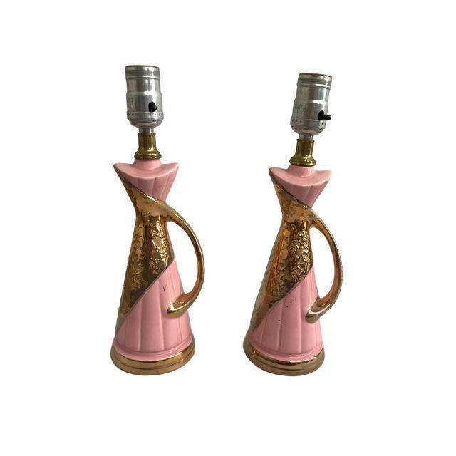 Pink & Gold Vintage Lamps - A Pair - Image 5 of 9