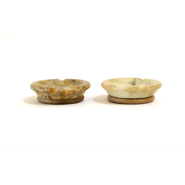 Alabaster & Wood Ashtrays - Pair - Image 2 of 6