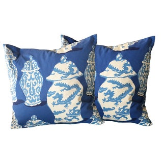Dana Gibson Stroheim Cobalt Blue Canton Pillows- A Pair