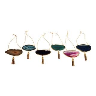 Modern Boho Agate Holiday Ornaments - Set of 6