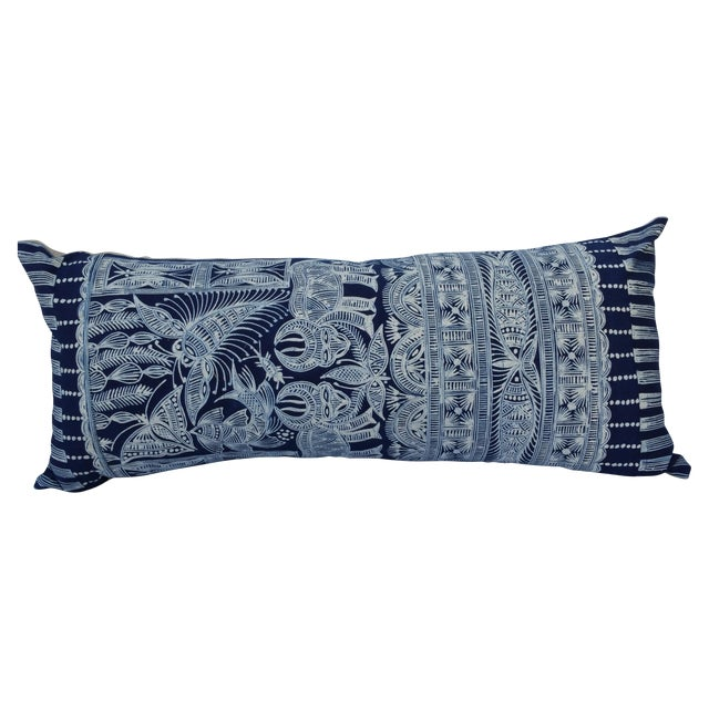 Hmong Indigo Batik Lumbar Pillow - Image 1 of 7