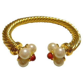 Goldtone Faux-Pearl Cable Cuff