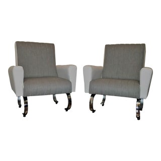 Mid Century Exclusive Pair of Sleek Italian Armchairs With Curved Metal Base