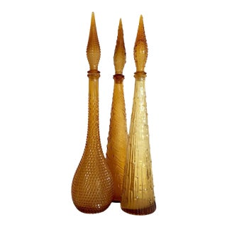 Amber Empoli Italy Decanters - Set of 3