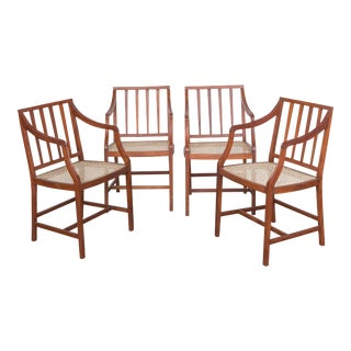 Exotic Wood Caned Chairs - Set of 4