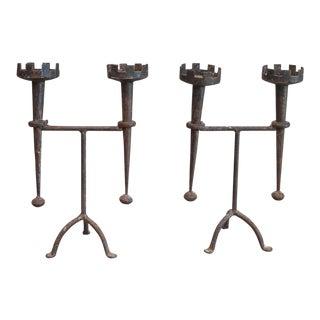 Pair of Renaissance Style Iron Candleholders (#51-41)