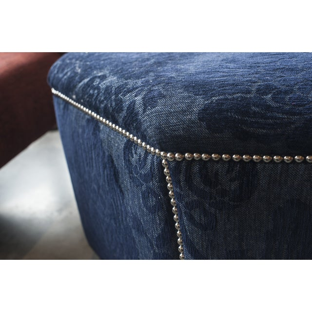 Dark Blue Octagon Floral Ottoman with Nailheads - Image 3 of 5