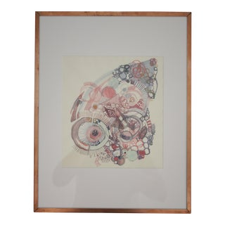 Original Watercolor Painting in Copper Frame