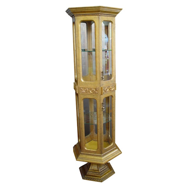 Hollywood Regency Gold Painted Curio Cabinet - Image 1 of 5
