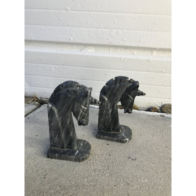 Italian Marble Unicorn Bookends - a Pair - Image 2 of 4