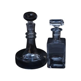 Stoppered Glass Decanters - A Pair