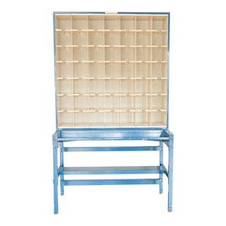 Vintage Blue Industrial Mail Sorter Cabinet