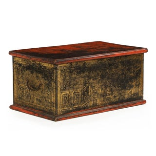 Antique Chinese Red and Gold Blanket Chest, 19th C