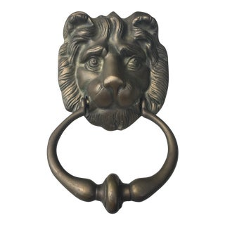 Vintage Heavy Solid Brass Lions Head Door Knocker