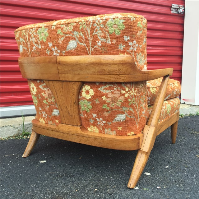 Mid-Century Orange Floral Lounger - Image 6 of 10
