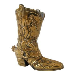 Brass Cowboy Boot Vase