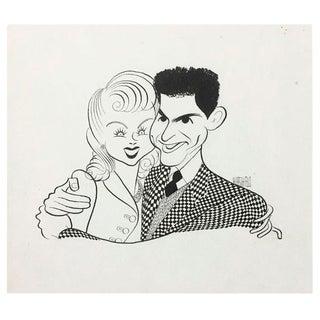 Debbie Reynolds and Eddie Fisher Drawing by Al Hirschfeld