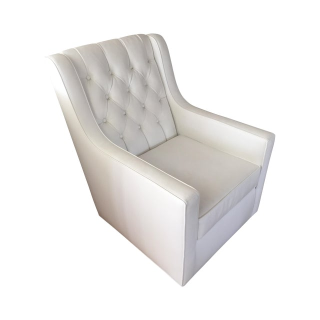 White Faux Leather Swivel Rocking Chair - Image 1 of 7