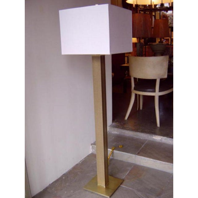 Karl Springer Linen and Brass Floor Lamp - Image 2 of 6