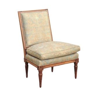 French Turn of the Century Louis XVI Style Slipper Chair with Fortuny Fabric