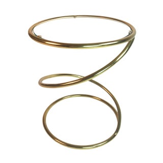 Pace Collection Brass and Glass Spring or Spiral Coffee or End Table