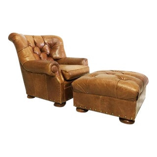 Vintage Brown Leather Armchair & Ottoman