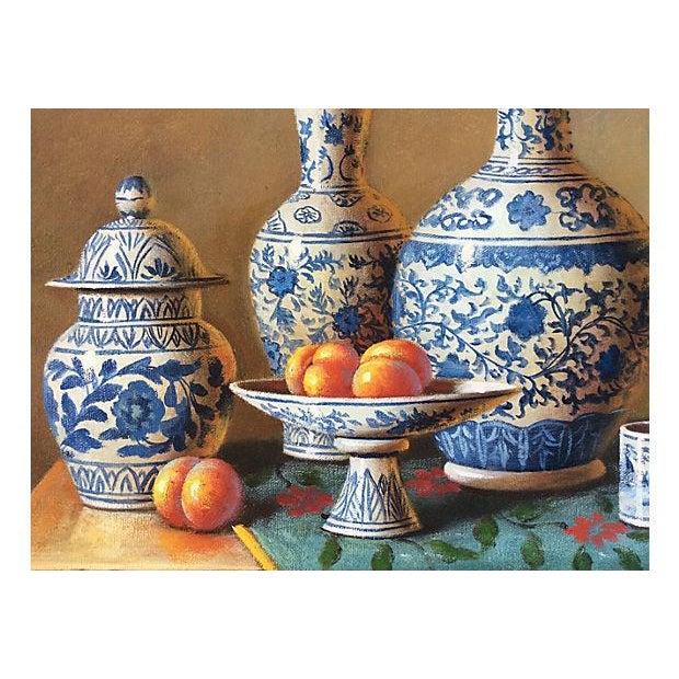 Blue & White Porcelain Still Life Painting - Image 3 of 5