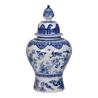 Large Blue and White Chinese Ginger Jar or Dutch Vase with Lid