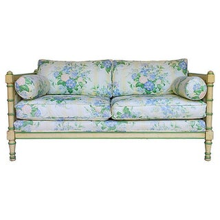 Upholstered Faux-Bamboo Settee